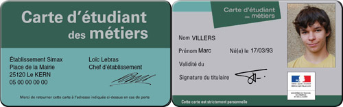 carte etudiant photo